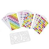 ENET Farbcodierungsaufkleber in Herzform, runde Punkte und Sterne, bunt, 60 Stück