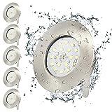 Ultra Slim LED Downlights 5W Badstrahler IP44 Wasserdicht Deckeneinbauleuchten Kaltweiß 240V 6er...