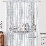 AIZESI 1PCS Schnur Perlen Vorhang Silber 100x200cm Perlen Boor Vorhänge Kristall Perlen Vorhang...