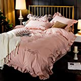 Xervg lgant Einfaches vierteiliges Set aus einfachen Laken und Bettbezgen aus Reiner Baumwolle-Rote...