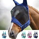 Harrison Howard CareMaster Pro Luminous Fliegenmaske Standard mit Ohren UV-Schutz für Pferde-Marine...
