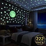 Yosemy Wandsticker Leuchtaufkleber, 222 Sticker Sterne und Mond fluoreszierend Wandaufkleber,...
