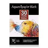 Aquarellpapier 300g DIN A4, 30 Blatt, Weier Block geleimt, Aquarell-Block Malblock Papier fr...