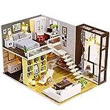 InChengGouFouX Holzblock DIY Wohnung Modell Puppenhaus Möbel Zubehör Miniatur Construction...