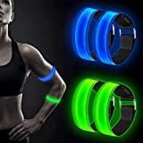 Alintor LED Armband, 4 Stück Reflektorband mit DREI Beleuchtungsmodi, Reflektoren Kinder,...