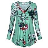 SUNNSEAN Tunika Damen T-Shirt V Ausschnitt Kurzarm Knopfleiste Shirt Lockere Kleid Bluse Oberteil...
