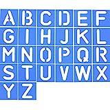 26 Stück Kuntstoff Buchstabe Schablone Alphabet Schablonen Set für Malerei Lernen DIY, Blau