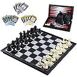 iBaseToy 3 in 1 Schach Magnetisch, Reiseschachspiel Magnetisch Schach Backgammon für Kinder ,...