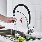 WOOHSE Küchenarmatur Ausziehbar, Niederdruck Wasserhahn Schwarz, Niederdruck Armatur Küche Brause,...
