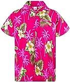 King Kameha Funky Hawaiihemd, Kurzarm, Small Flower New, Magentapink, 6XL