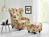 lifestyle4living Ohrensessel mit Hocker mit Webstoff Blumenmuster bezogen   Der perfekte Sessel für...