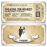 Einladungskarten zur Hochzeit (30 Stück) als Eintrittskarte im Vintage Ticket Look Hochzeitskarten...