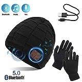TAGVO Bluetooth V5.0 Beanie mit Touchscreen Handschuhen Set, Winter Verdickung Warm Gestrickte...