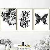 Geiqianjiumai Abstrakte Blume Schmetterling Blatt Zitat Wandkunst nordischen Leinwand Poster und...