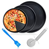 ceuao Back-Pizzablech, 3er Set, rund Pizzabackblech, antihaft, Pizza & Flammkuchen, Carbonstahl,...