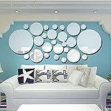 Anself 3D Spiegel Wand Aufkleber DIY Wandtattoos Runde Aufkleber für Zimmer Dekoration