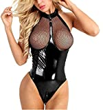 Damen Wetlook BodyLeder Bodysuit Brust Harness PU Leder Halsband mit Kette Erotik String Body...