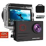 Apexcam Pro Action Cam 4K 20MP Sportkamera WiFi Unterwasserkamera 2.4G Fernbedienung Wasserdicht 40m...