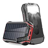 Solar PowerBank 26800mAh QI Wireless Solarladegerät Schnelles Aufladen Externer Akku Tragbare...