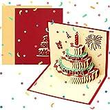3D Geburtstagskarte, Pop Up Geburtstagskarten Grußkarte Geburtstag Karten mit 3 Schichten Kuchen,...