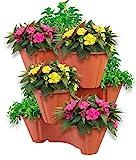 UPP Pflanzturm mit stapelbaren Pflanztpfen   Vertikaler Garten mit 3 Etagen   Platzsparend fr bis zu...