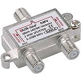 SAT & BK-Verteiler - 2-Fach Splitter - voll geschirmt - Unicable & HD tauglich [DUR-line D2FV - für...