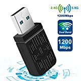 USB WIFI Wlan Adapter, WiFi Stick 1200Mbps Wireless USB 3.0 Adapter Dual Band WiFi (5.8Ghz/867Mbits...