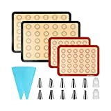 PHILORN Backmatte für Macarons, Backmatte aus Silikon 40 Löcher Macarons Silikonmatte mit 14...