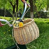 Chuanfeng Fahrradkorb Kinder Vorne Lenkerkorb Weidenkorb Radkorb Hängekorb Vorne Fahrradzubehör,...