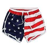 Zarupeng Damen Beiläufige Strandshorts Amerikanische Flagge Streifen Sterne Drucken Shorts Bermuda...