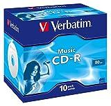 Verbatim Musik CD-R mit 80 Minuten - 16-fache Brenngeschwindigkeit - Rohling zum Daten sichern und...