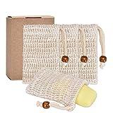 Pretop 4x Seifensäckchen Bio, Seifensäckchen Sisal, Seifenbeute Natur, Aufschäumen und Trocknen...