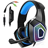 ZZYLHS Stereo Gaming Headset tiefer Bass Over-Ear-Spiel-Kopfhörer mit Mic LED-Licht for PS4 PC...