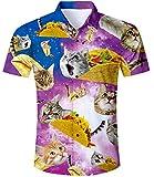 TUONROAD Hawai Hemd Herren Katzen Hemd Sommerhemd Herren 3D Taco Cat Muster Kurzarm Shirt...