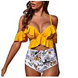 QingJiu 2020 Neue Damenmode Ruffle Cross Schulterfrei Sling Bikinis Hohe Taille Bademode Gedruckt...