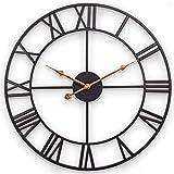 Große Wanduhr, Europäische Retro-Uhr mit Großen Römischen Ziffern, Leise Batteriebetriebene...