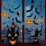 YQHbe Halloween Fenster Aufkleber, 126 Stück Halloween Deko Fensterbilder Fledermaus Spinne Kürbis...