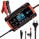 URAQT Ladegerät Autobatterie, 8A 12V/24V KFZ Batterieladegerät Auto mit LCD-Touchscreen, Batterie...