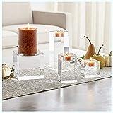 Kerzenhalter Glas, Kerzenständer 4 Set in Unterschiedlicher Größe, Große Kristallkerzenhalter...