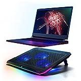lingyun RGB Gaming Cooling Pad Leises Laptop- und Notebook-Kühlpad mit einem großen Lüfter,...