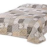 Delindo Lifestyle® Tagesdecke Bettüberwurf Herzen für Doppelbett, Patchwork braun, 220x240 cm
