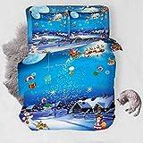 XLLJA Plain Klimaanlage Quilt,Bettwäscheset der 3D-Weihnachtsserie, Bettbezug und Kissenbezug,...