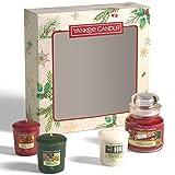 Yankee Candle Geschenkset   Kerzen mit Weihnachtsduft   3Votivkerzen & 1kleine Kerze im Glas  ...