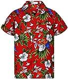 V.H.O. Funky Hawaiihemd, Kurzarm, Kirsch Papagei, rot, XL