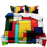 Bettbezug-Set, 3D-Regenbogen-Quadrat-Druck Bettwäsche-Sets Dekorative Geometric Artisan mit 2...
