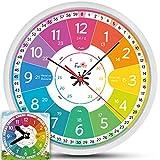 Funtini Kinderuhr-Set ◆ lautlos ◆ Geschenk zur Einschulung   Wanduhr Ø30cm ★ mit...
