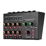 QuRRong Mischpult 8-Kanal-Mono- / Stereo-Audio-Tonmischer Mit Nachhallfunktion 60Hz...