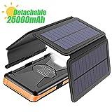 X-DRAGON Solar Powerbank 25000mAh Solarladegerät mit 4 Solarzellen, LED Taschenlampe und...