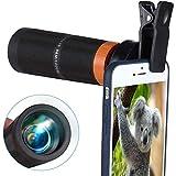 HUNDAN 12x32 Monokular Teleskop Tragbares Smartphone Teleobjektiv Handy Kamera Zoomobjektiv Kit Mit...