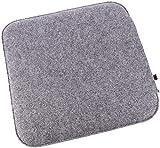 Filz Sitzkissen in Graumeliert/cremeweiß zum Wenden, waschbare Stuhlauflage mit Füllung inkl....